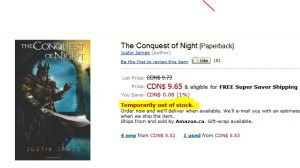 Temporarily out of stock on teen fiction book The Conquest of Night by Justin James